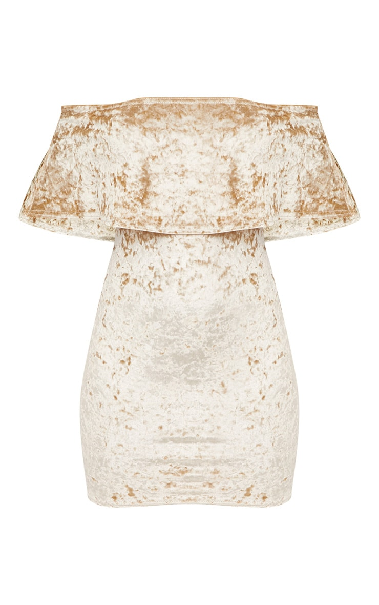 Champagne Crushed Velvet Bardot Frill Bodycon Dress  2
