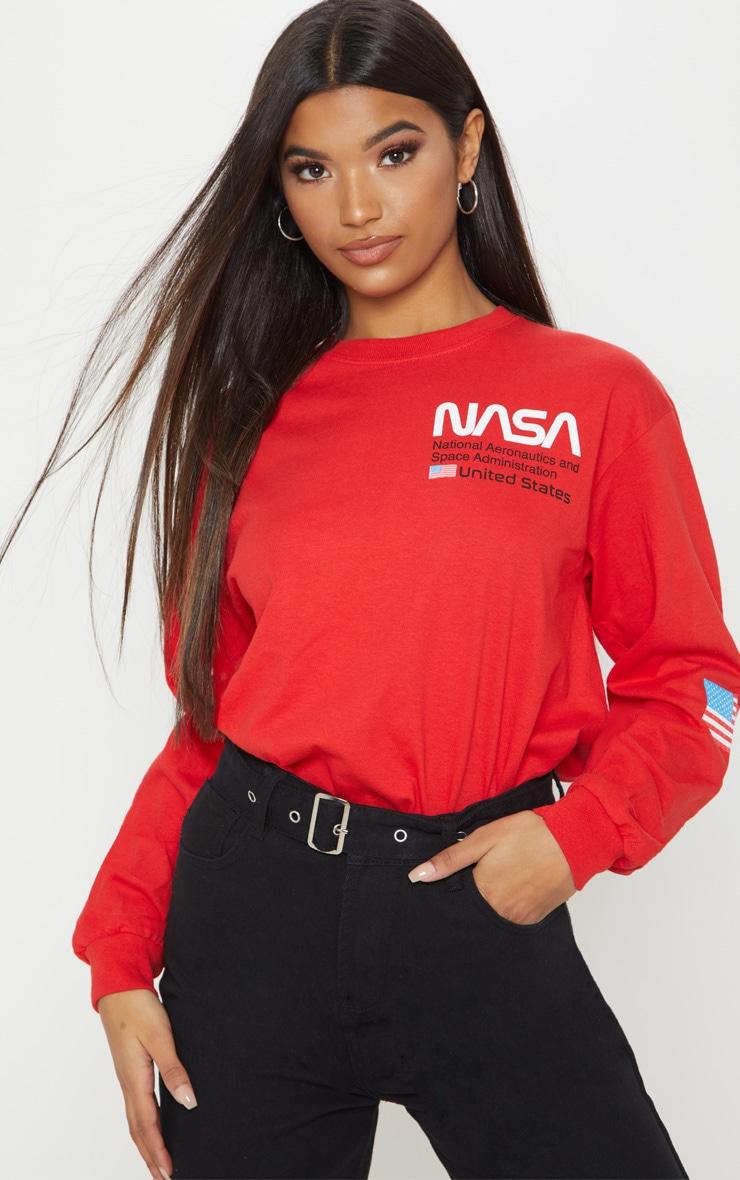 Red NASA Long Sleeve T shirt 1