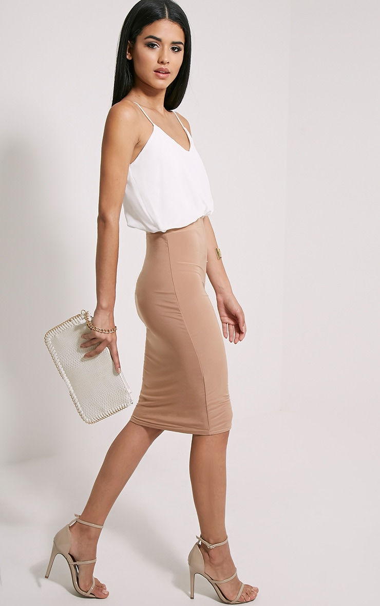 Demi Camel Frill Top Midi Dress 1