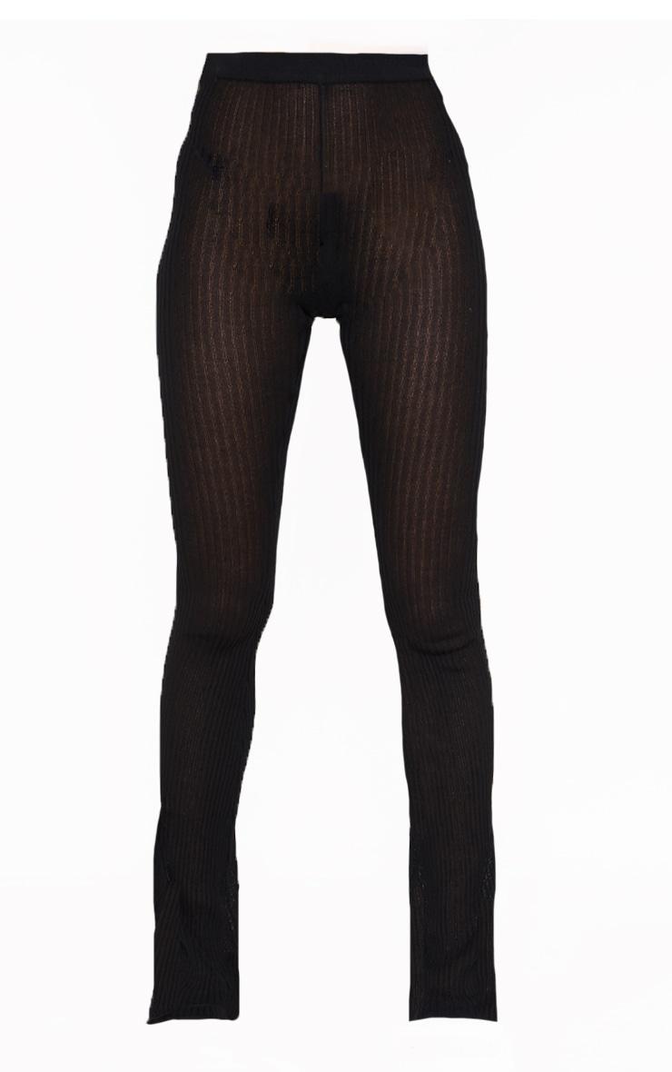 Pantalon en maille transparente noire à jambes évasées 5