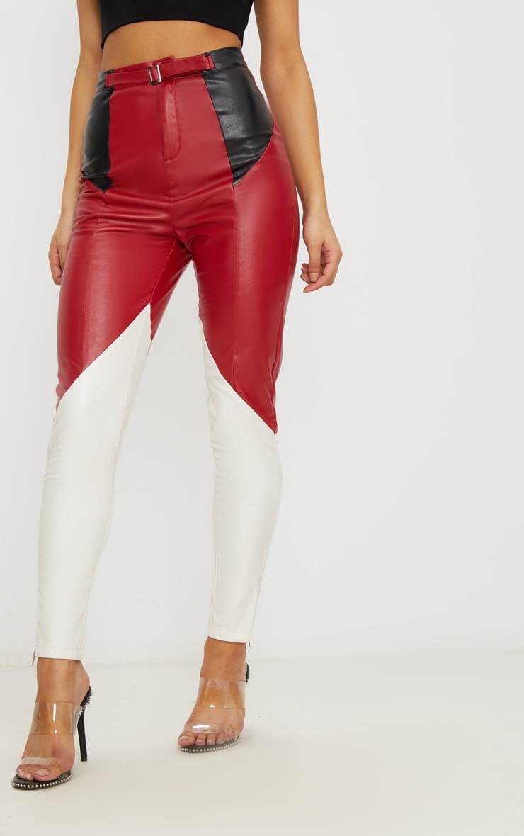 Maroon Faux Leather Belted Motocross Trousers 2