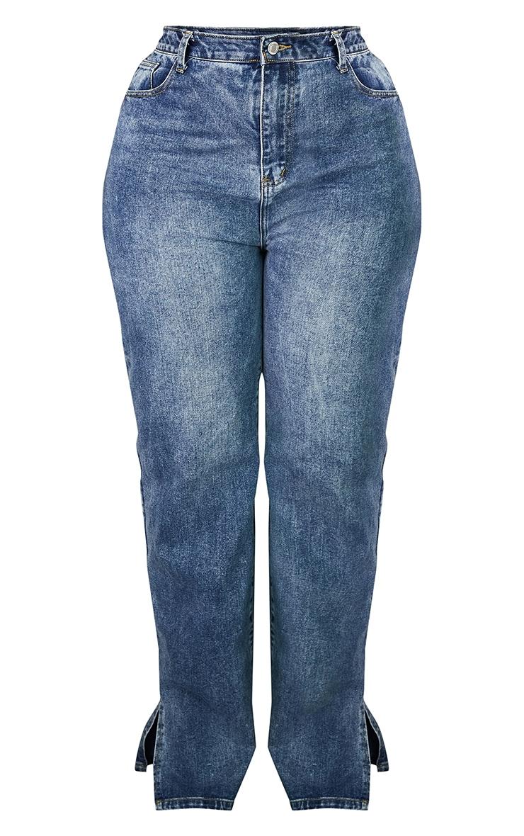 PLT Plus - Jean bleu moyennement délavé à ourlet fendu 5