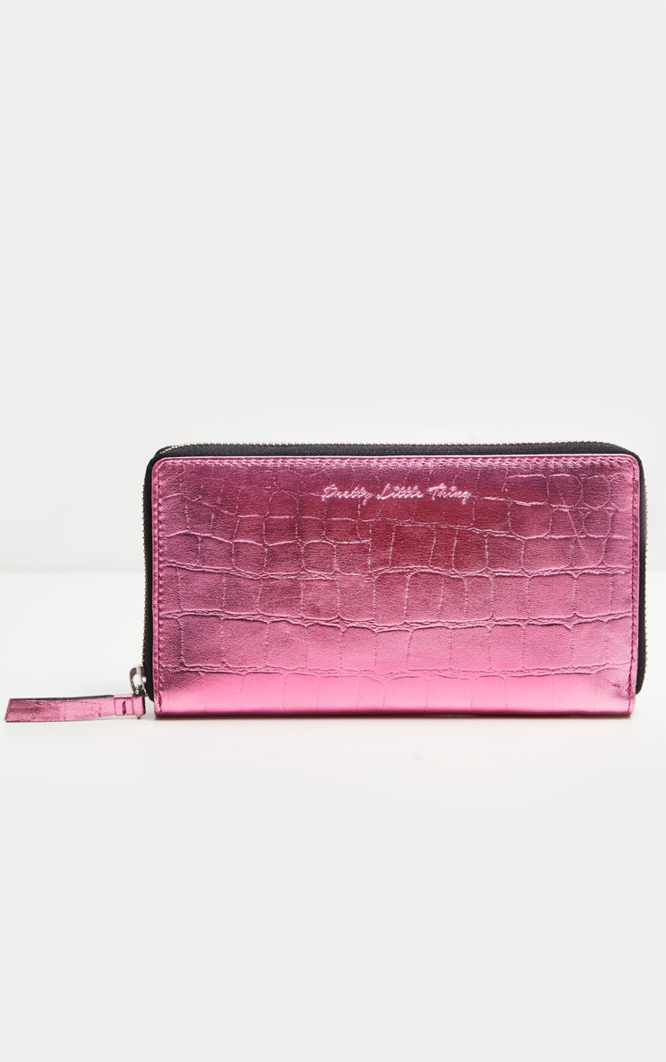Pink Real Leather Croc Purse  2