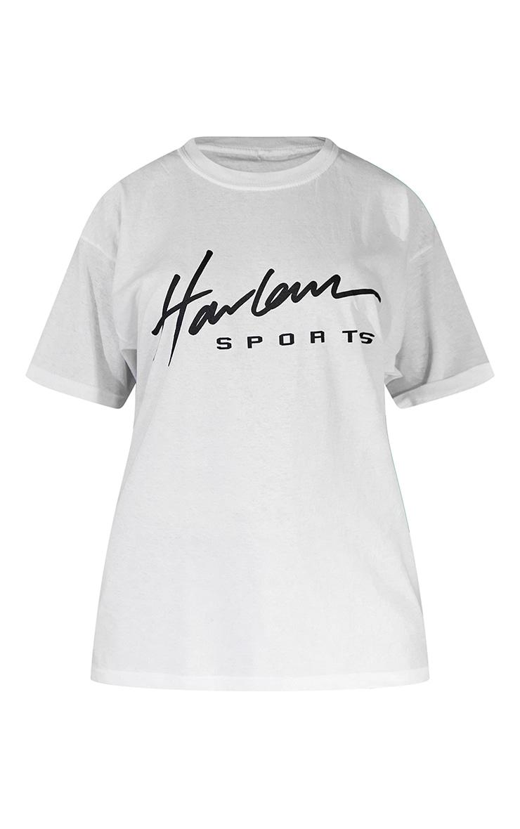 White Unisex Harlem Graphic Print Oversized T Shirt 5