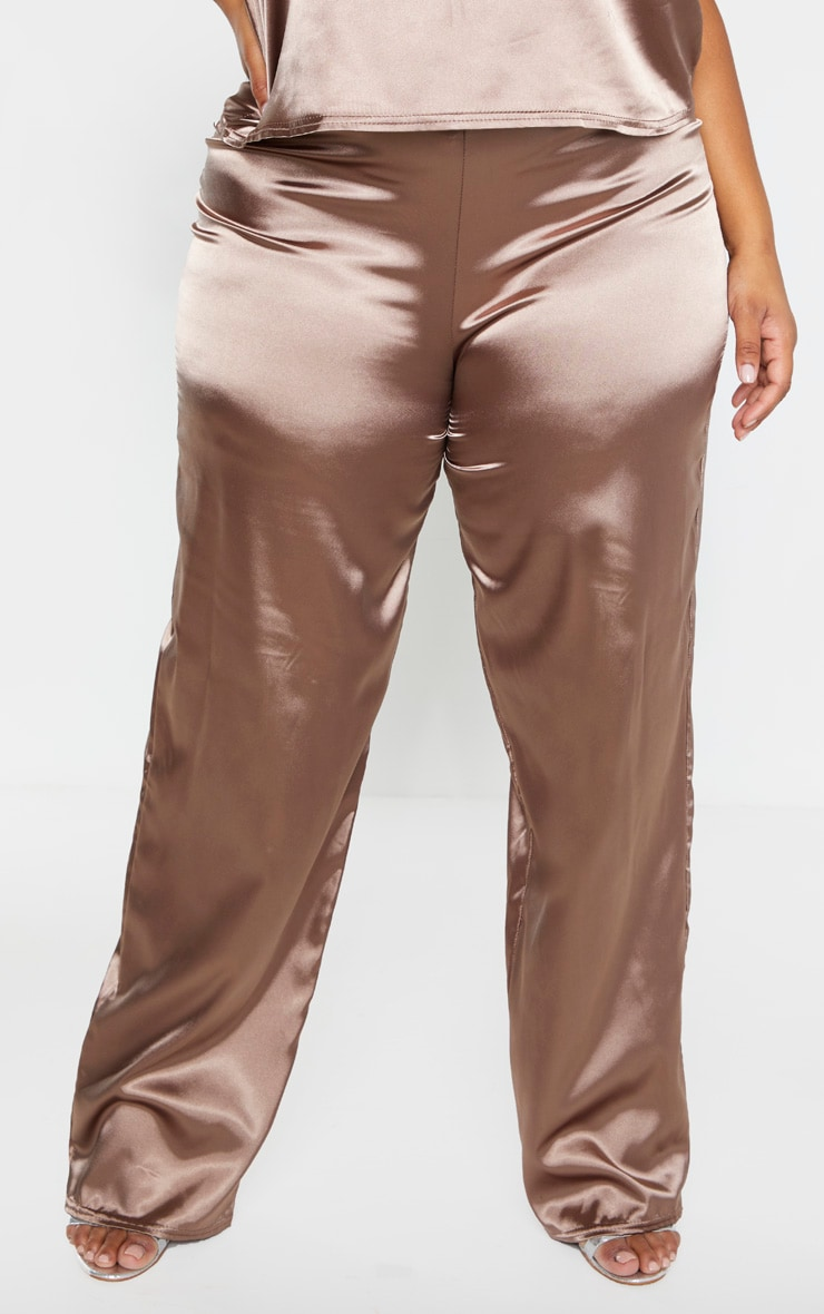 Plus Mocha Satin Drawstring Wide Leg Trouser  2