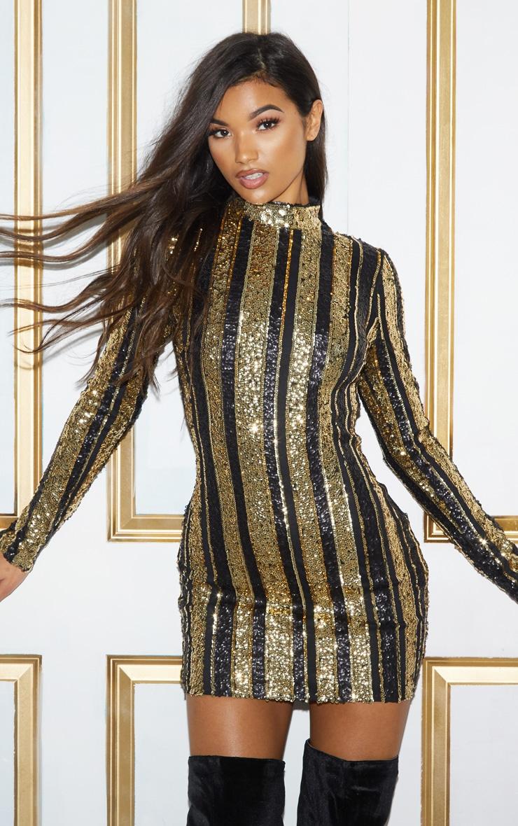 Black Sequin Stripe Bodycon Dress 3