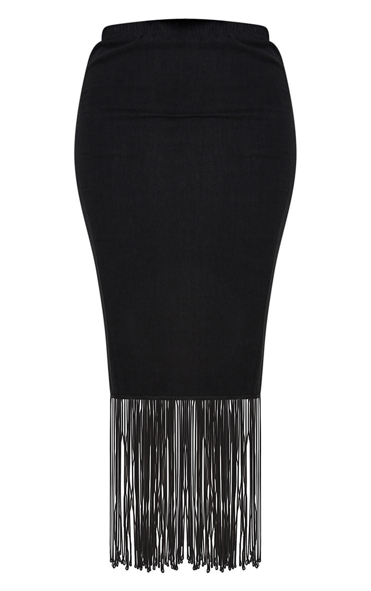 Black Woven Midi Fringe Detail Skirt 5