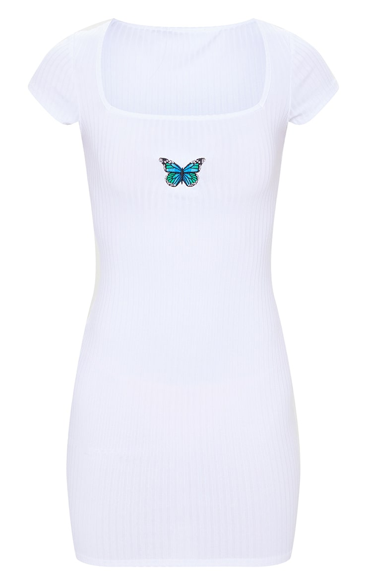 White Butterfly Embroidery Rib Square Neck Bodycon Dress 5