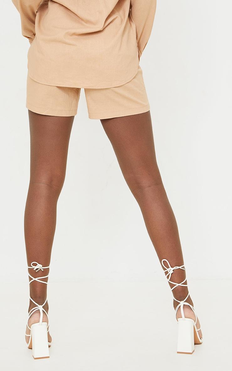 Tall Stone Linen Look Asymmetric Shorts 3