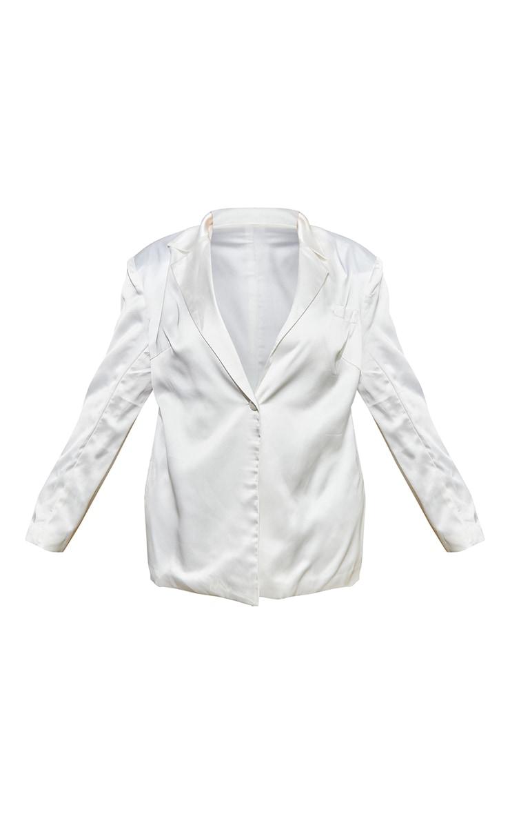 Plus White Satin Oversized Blazer 5