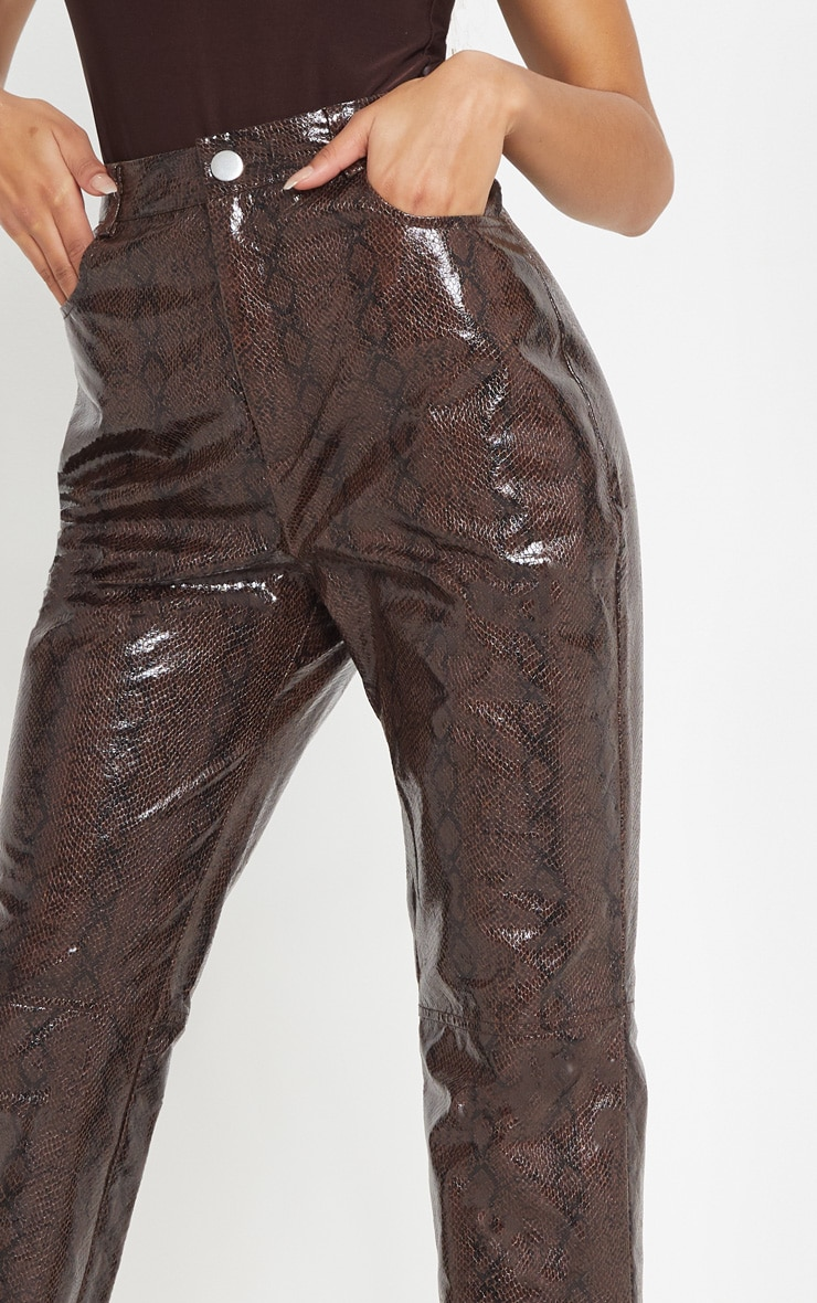 Brown Faux Leather Snakeskin Straight Leg Pants 5