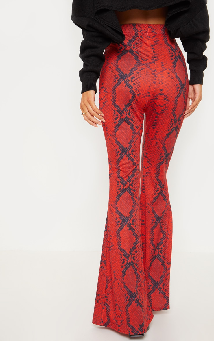 Red Jersey Snakeskin Flared Trouser 4