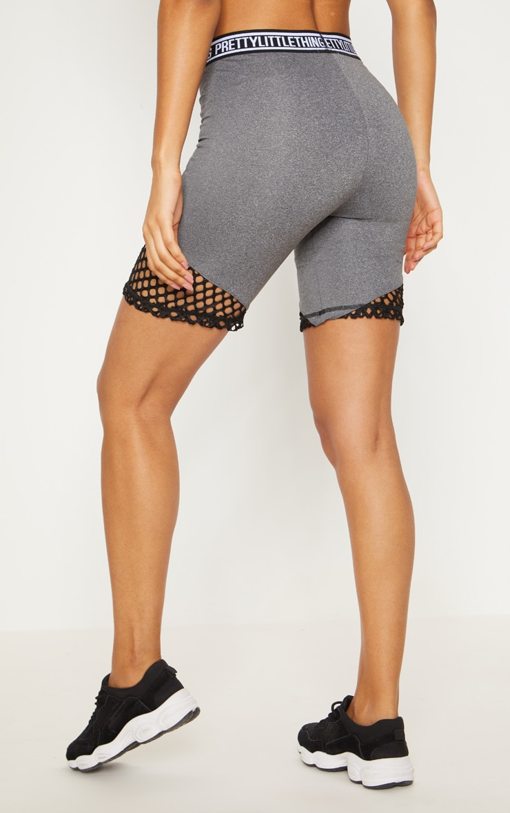 PRETTYLITTLETHING Charcoal Fishnet Detail Cycling Shorts  5
