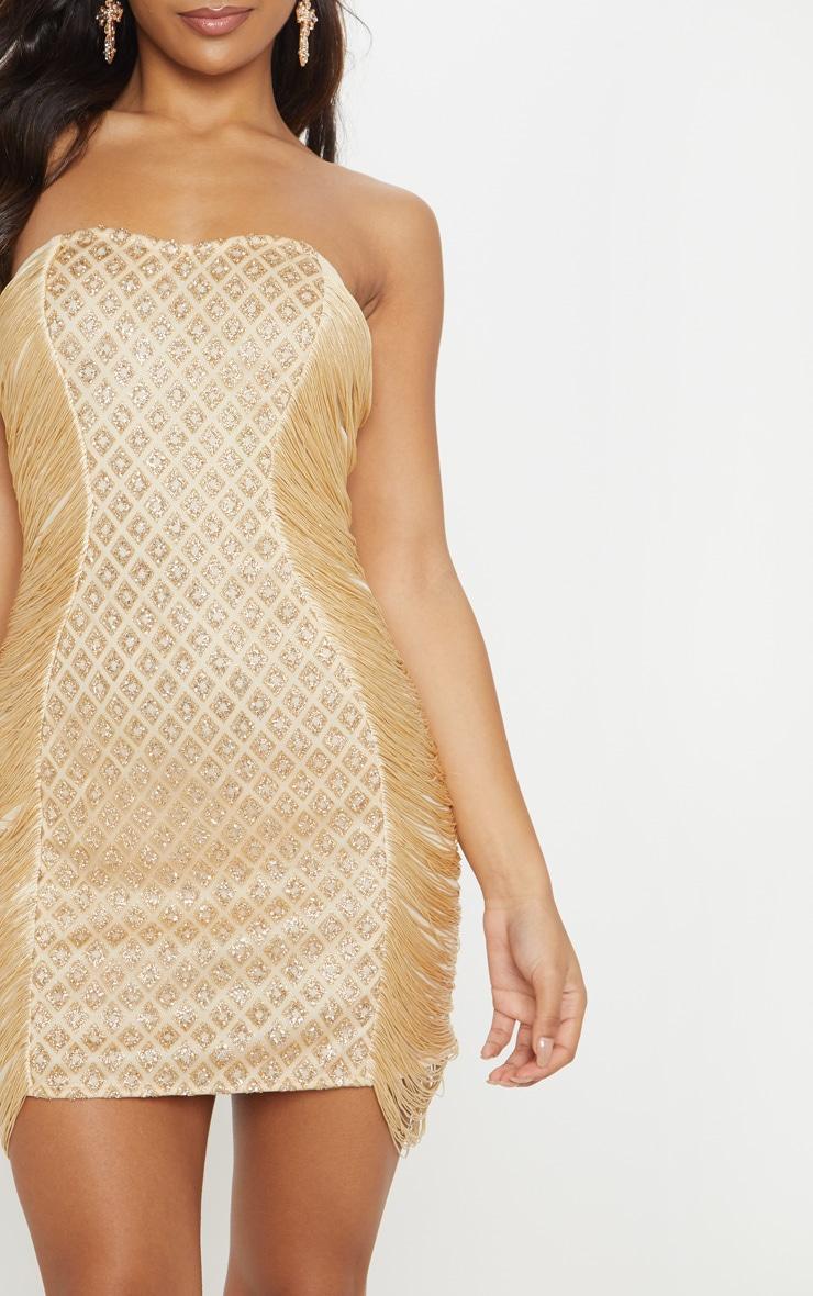 Gold Bandeau Glitter Tassel Bodycon Dress 5