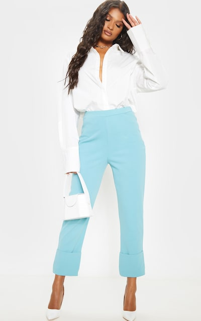 Dusty Turquoise Straight Leg Turn Up Trouser