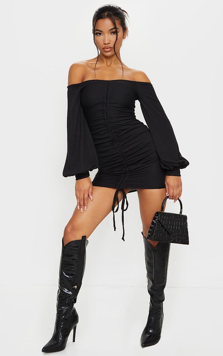 Black Ribbed Bardot Balloon Sleeve Ruched Bodycon Dress 3