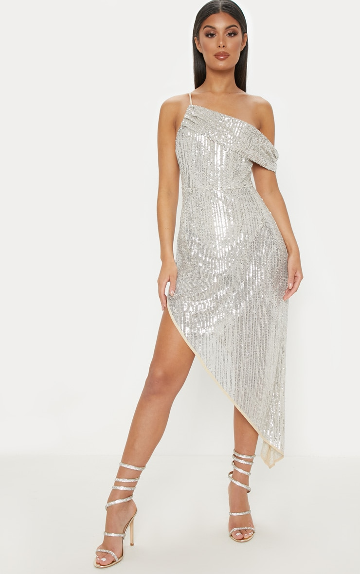 Silver Sequin Off The Shoulder Midi Dress  1
