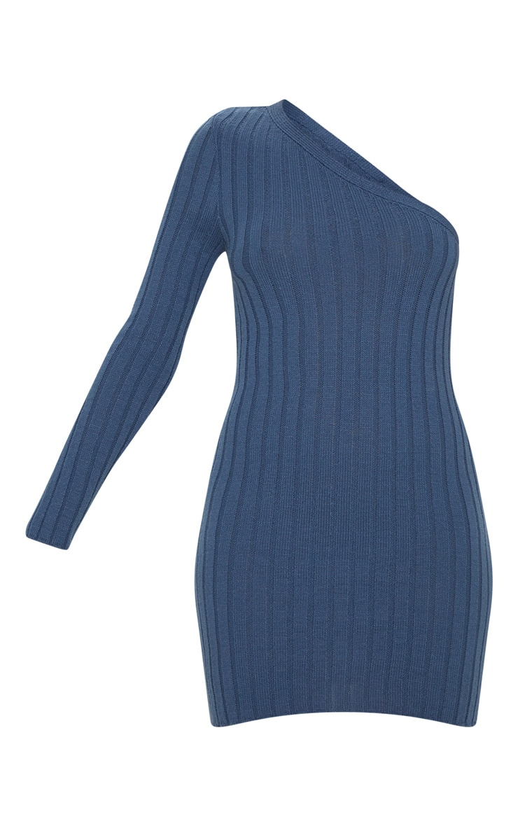 Petrol Asymmetric Knitted Rib Dress 3