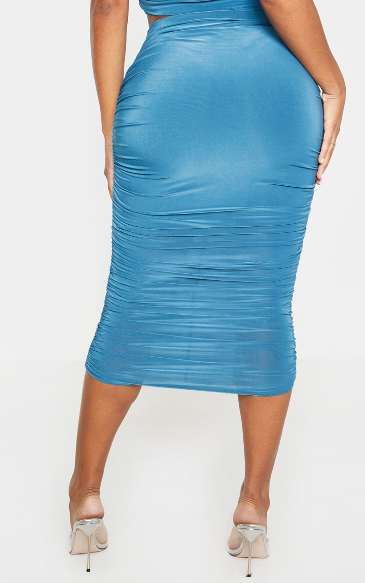 Shape Petrol Blue Slinky Ruched Midi Skirt 4