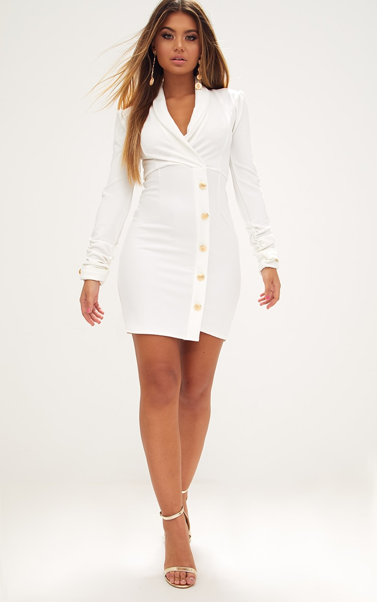 White Gold Button Ruched Sleeve Blazer Dress 4