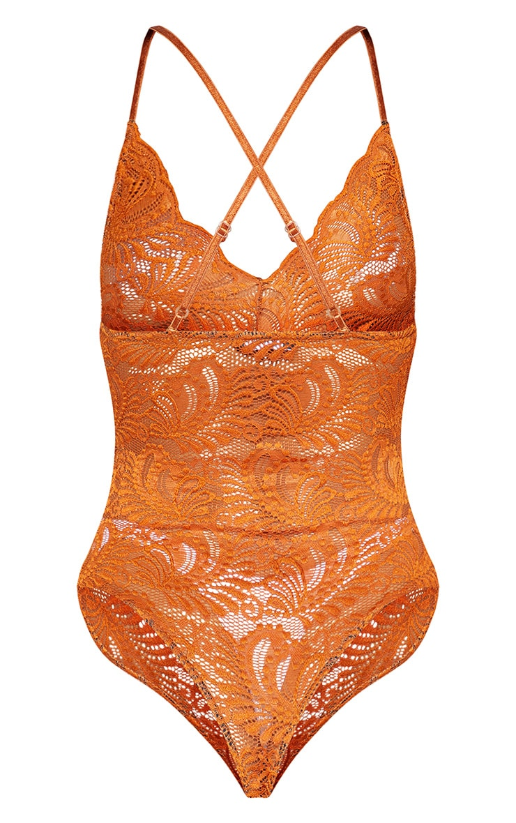 Tan Lace Cross Back Bodysuit 4