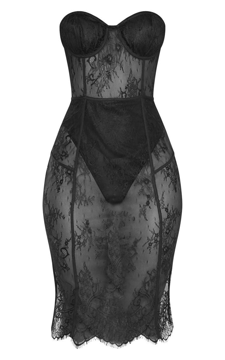 Black Bandeau Cup Detail Lace Midi Dress 3