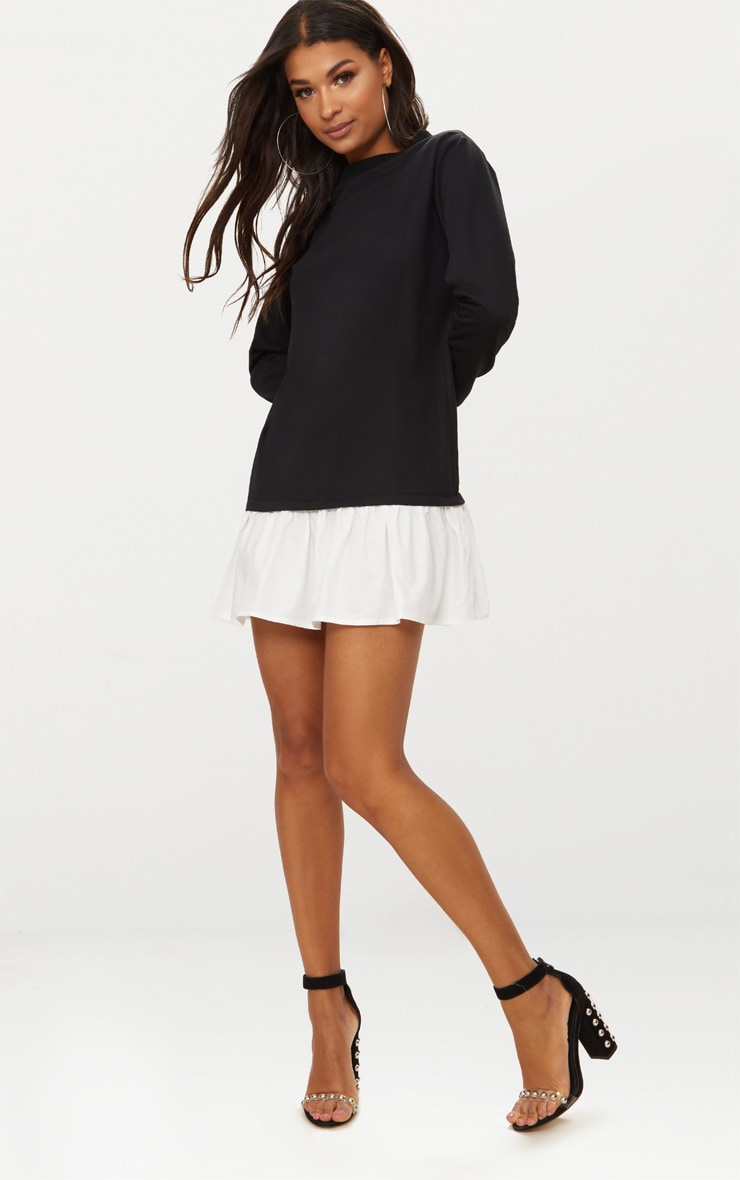 Black Sweater Dress with Poplin Frill  3