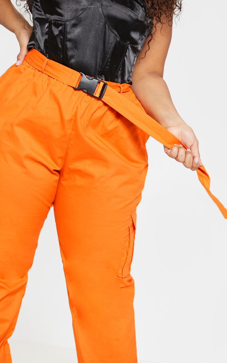 Plus Orange Utility Buckle Belt Joggers 5