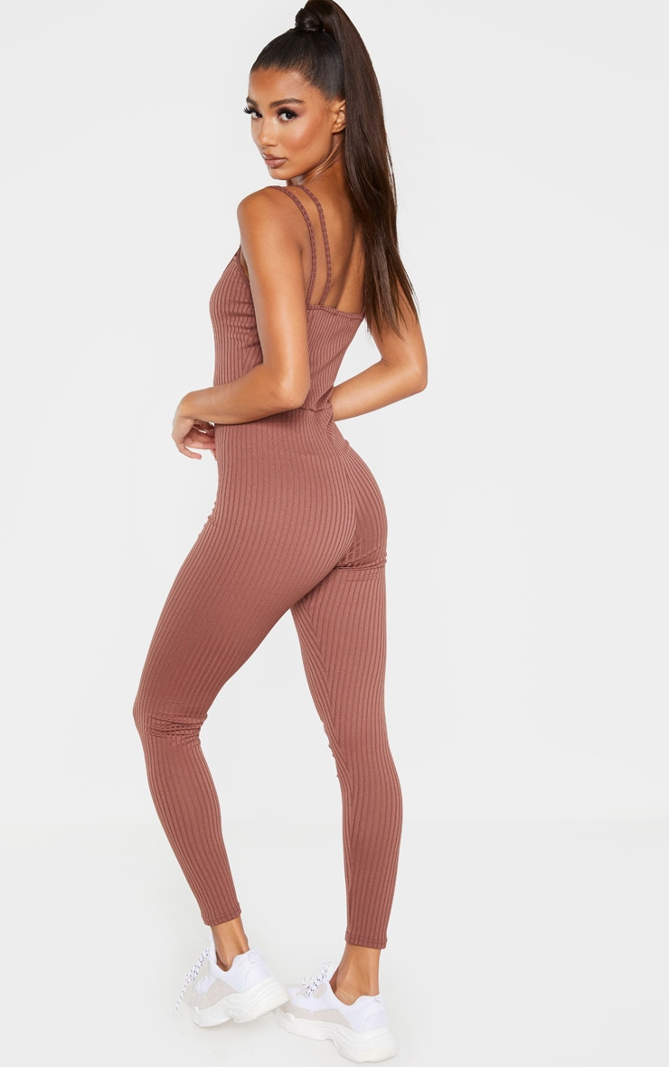 Chocolate Rib Double Strap Jumpsuit 2