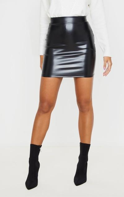 Black Basic Faux Leather Mini Skirt