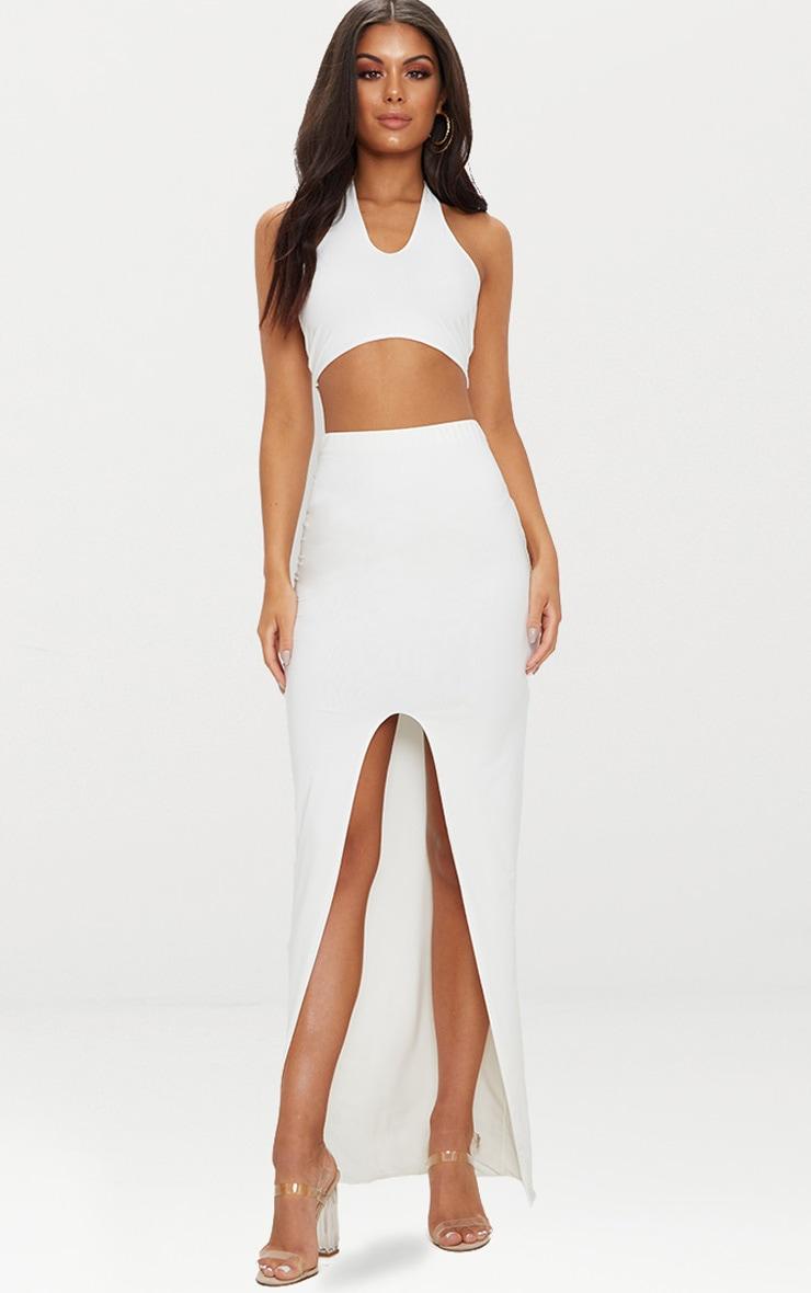 White Slinky Split Midaxi Skirt 1
