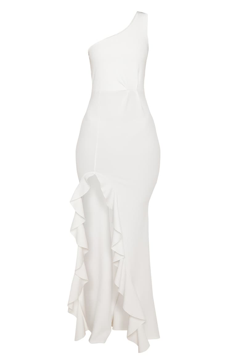 White One Shoulder Ruffle Hem Maxi Dress 3