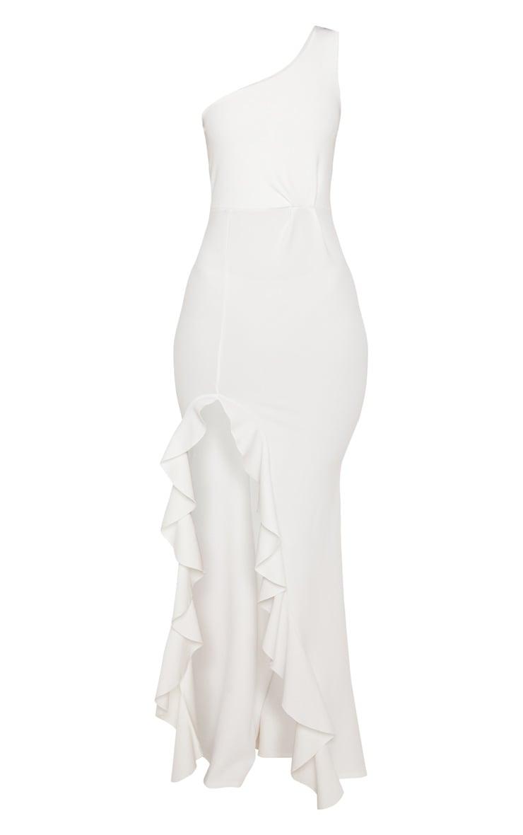 فستان طويل بحافة مكشكشة وبكتف واحد بلون أبيض 3