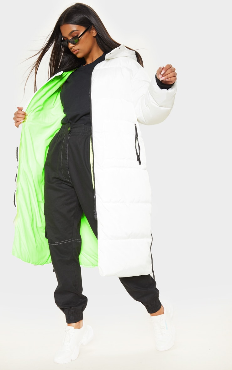 White Maxi Contrast Hooded Puffer 1