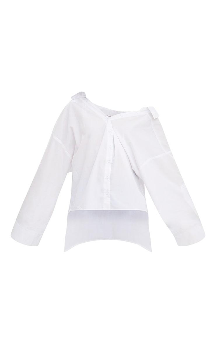 White Oversized Off Shoulder Shirt 3