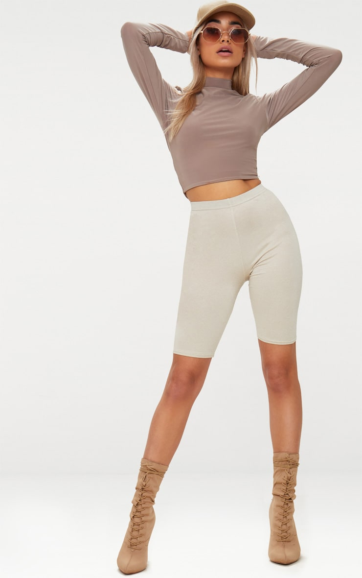 Taupe Slinky High Neck Long Sleeve Crop Top 4