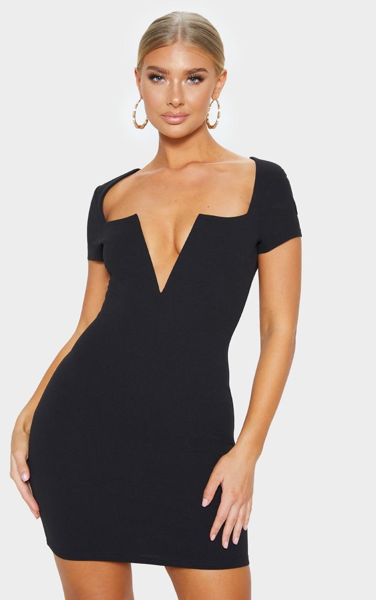 Black Short Sleeve V Plunge Bodycon Dress 1