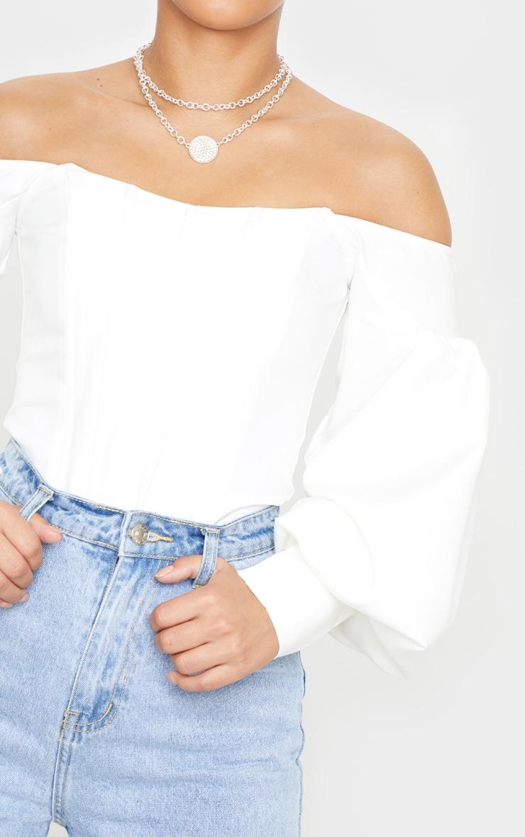 Petite - Top style corset blanc à manches ballon et col bateau 5