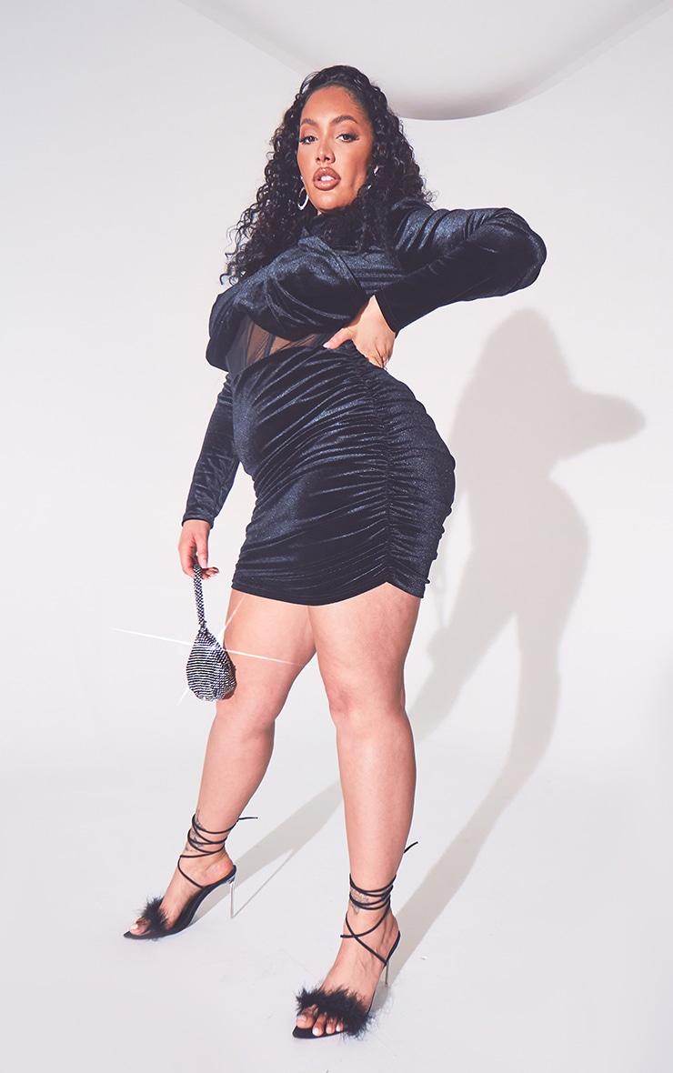 Plus Black Velvet Shoulder Pad Mesh Panel Midi Dress 4