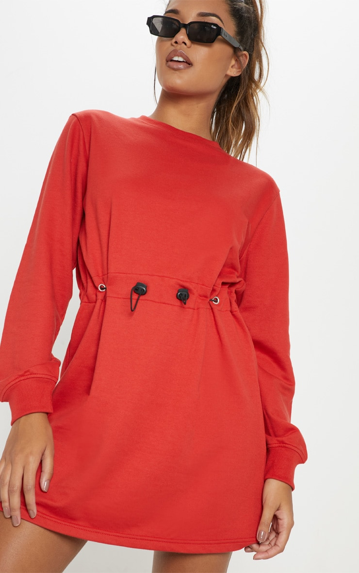 Red Toggle Front Sweat Jumper Dress 5