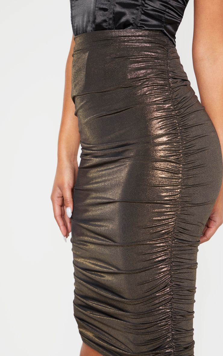 Gold Metallic Textured Ruched Midi Skirt  5