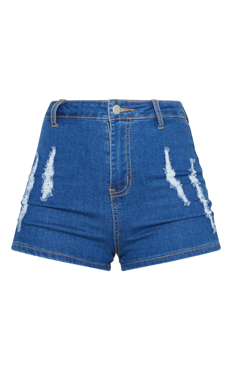PRETTYLITTLETHING Mid Blue Wash Distress Denim Disco Shorts 6