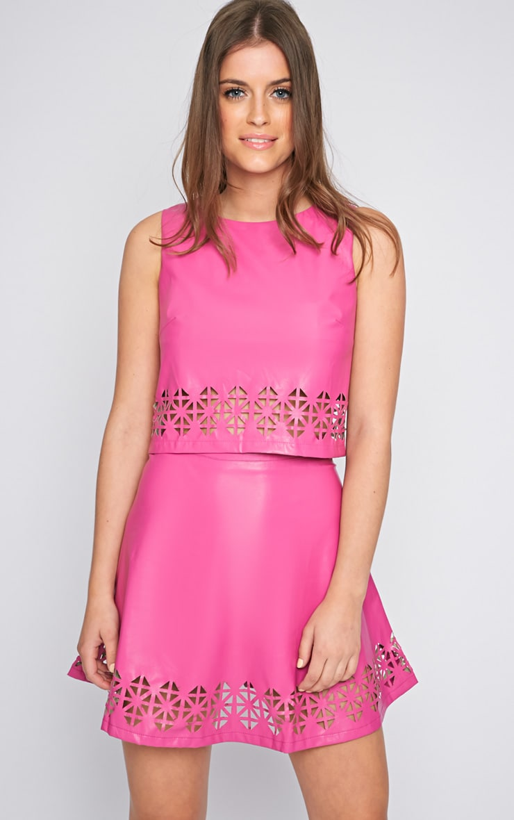 Amiya Pink Cut Out Leather Skater Skirt  4