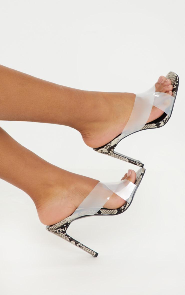 Snake Flat Heel Clear Mule Sandal 2