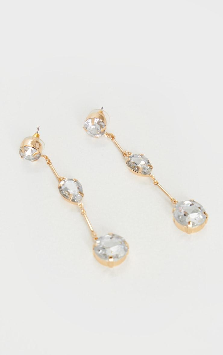Gold 3 Crystal Drop Earrings 2