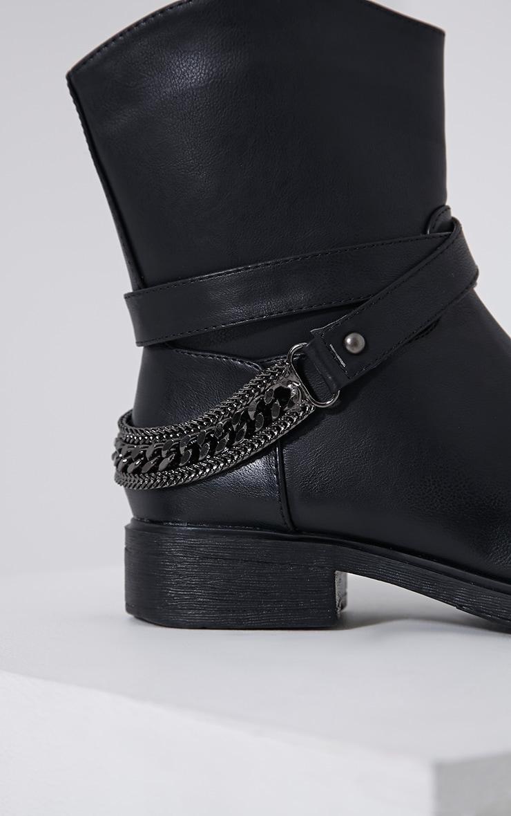 Caris Black Metal Chain Heel Boots 6