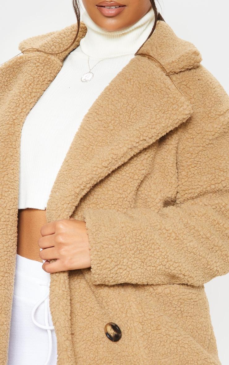 Manteau mi-long en imitation peau de mouton camel 5
