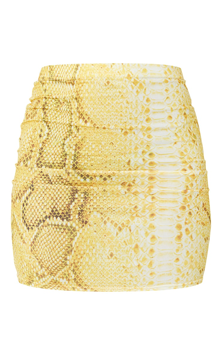 Yellow Snake Print Mini Skirt 7