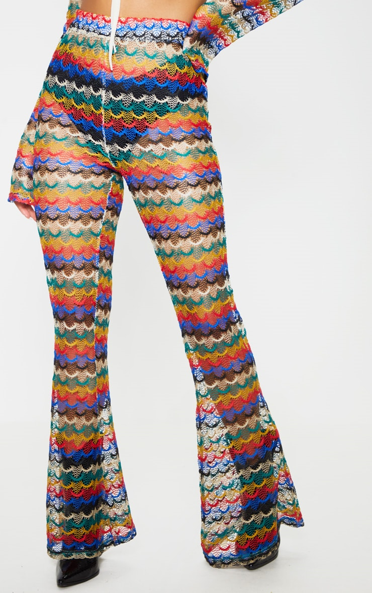 Multi Chevron Knitted Flare Pants 2