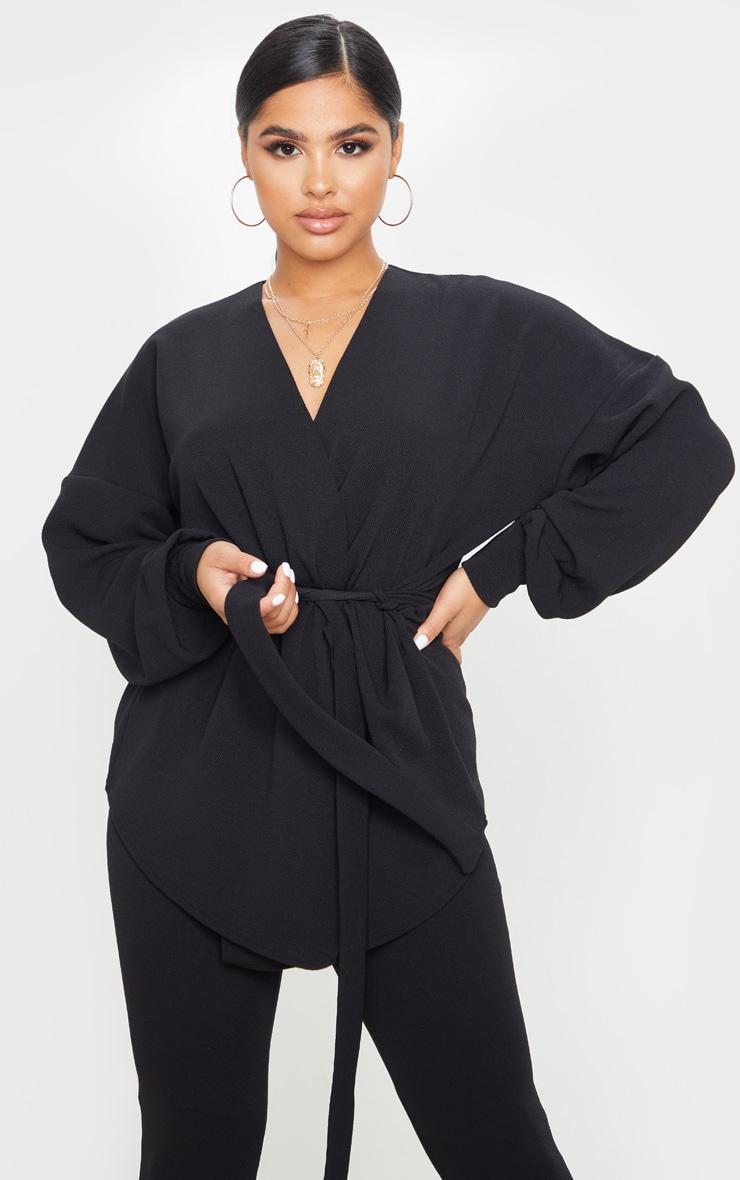 Petite Black Oversized Sleeve Belted Blazer 1